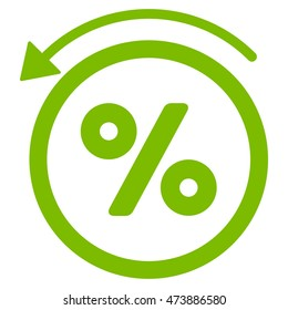 Rebate Percent icon. Glyph style is flat iconic symbol with rounded angles, eco green color, white background.