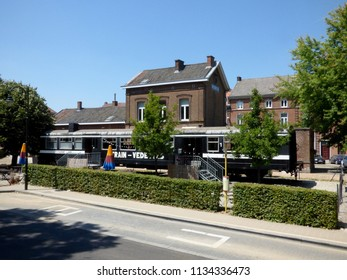 Rebecq, Belgium - July 10th 2018: Restaurant in an old railway carriage in Rebecq .