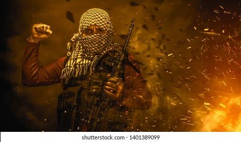 rebel militant terrorist guerrilla concept
