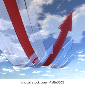 Rebounding arrows Red (on background of blue skies)