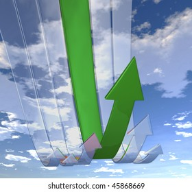Rebounding Green arrows (on background of blue skies)