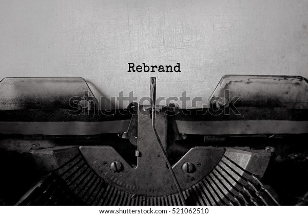 Rebrand typed words on a vintage typewriter