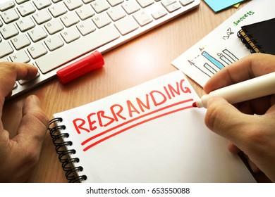 Rebranding written in a note. Rebrand marketing concept.