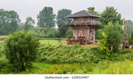Rebuild of a Roman watch tower along the Rhine between Kesteren and Wageningen in the Netherlands