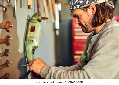 construction worker american flag Stock Photos, Images