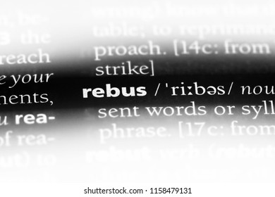 rebus word in a dictionary. rebus concept.