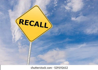Recall Road Sign against sky