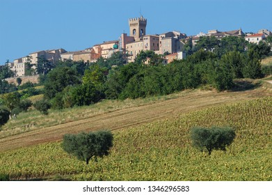 Recanati, Macerata district, Marche, Italy, view of the village with the beautiful Marche countryside in the foreground