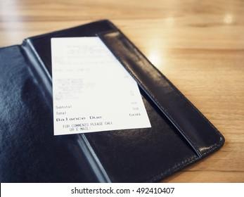 Receipt Bill in Folder Shopping Payment Retail Business
