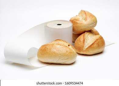receipt obligation in germany also for small shops and bakery, showing german bun and blank receipts to show environmental pollution