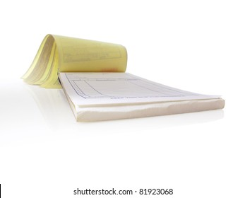 Receipt pad, Isolated and open to a blank page