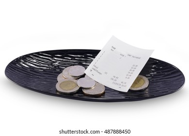 Receipt, Tax invoice and Money tips, on white background.