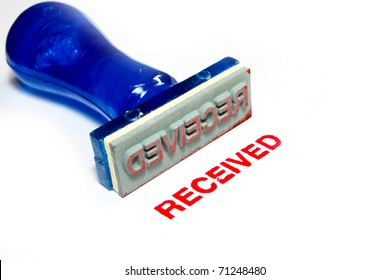 received letter on blue rubber stamp isolated on white background
