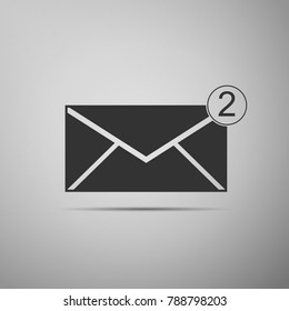 Received message concept. New, email incoming message, sms. Mail delivery service. Envelope icon isolated on grey background. Flat design