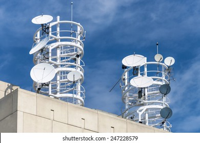 Receiving antennas on building