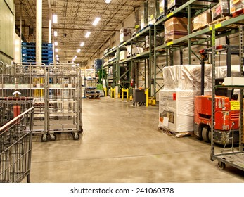 receiving and warehouse area of a wholesale club type store