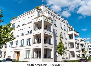 Recently built white apartment buildings seen in Berlin, Germany