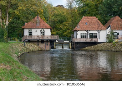 The recently restored historic water mill called The Olliemölle or Den Helder in the stream of the river the Boven-Slinge in Winterswijk in Hamlet the Achterhoek in the Netherlands.