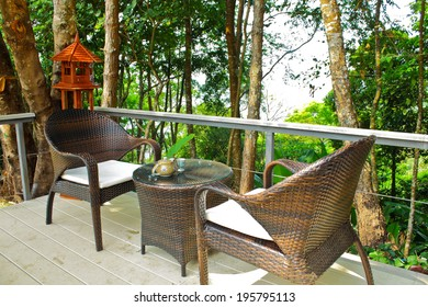 Reception area among floral garden among top hill park in Nan,Thailand