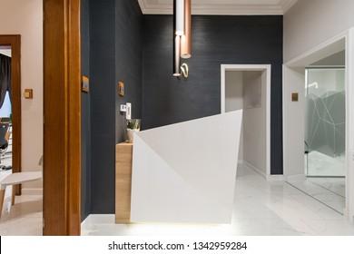 Reception area in luxury dental clinic