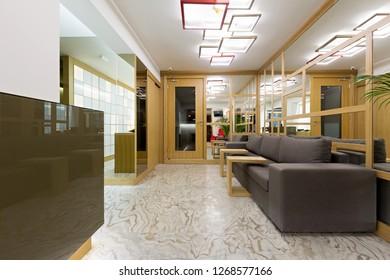 Reception area in modern hotel