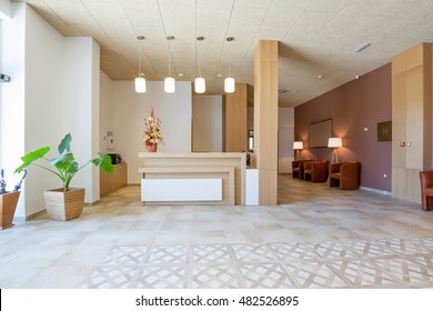 Reception area with wooden reception table