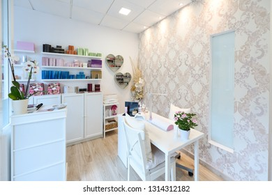 Reception of beauty, wellness and spa salon. Aesthetic concept.