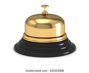 Reception bell  on white. 3D rendering