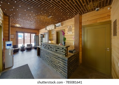 A reception in the building of a sauna, with the room of expectation