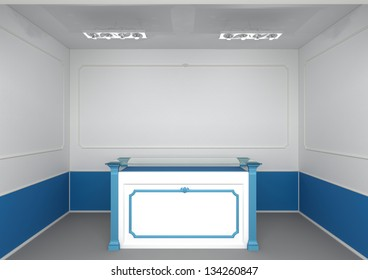 reception counter in abstract classic style interior