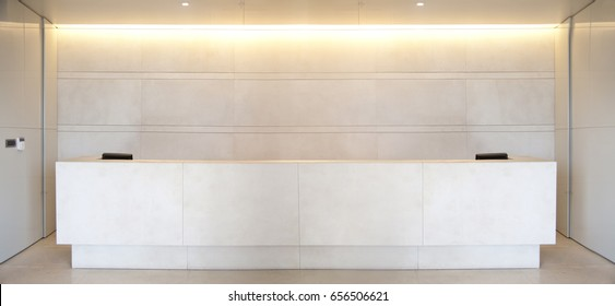 Reception desk in a corridor with large panoramic view