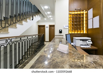Reception desk, hotel reception interior