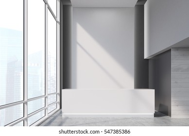 Reception desk near a panoramic window in an office corridor. Concept of business interior. 3d rendering. Mock up