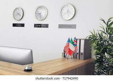 Reception desk with service bell in hotel