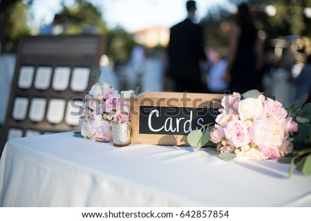 Reception Gift Table Outdoor Wedding Sunset Stock Photo Edit Now