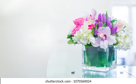 Reception Interior with beautiful  flowers in vase