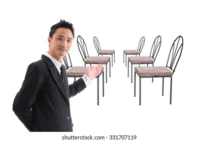 Receptionist Invite Guests Attended The Meeting