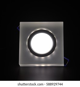 recessed ceiling lighting for apartments with LED lamp on a black background