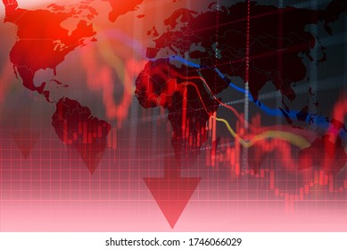 recession economy stock crash red market trade war economic world financial / business and stock crisis and markets down because of pandemic coronavirus COVID-2019 or relationship usa china