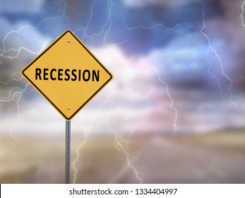 Recession sign with stormy sky as the background