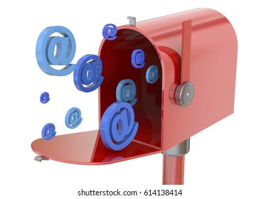 Receving mail concept on white Background 3D
