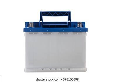 Rechargeable  car battery isolated on white background.