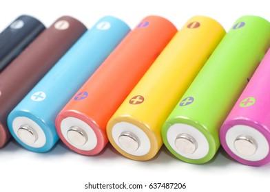 Rechargeable colored nickel-metal hydride batteries AA