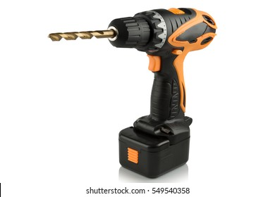 Rechargeable and cordless drill on a white background.