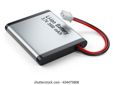 Rechargeable Li-ion battery with power plugs connector. Isolated on white background 3d image
