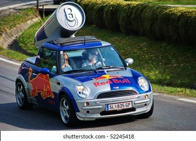 "RECHBERG APRIL 25:Red Bull advertising car on ""Hill Climb Grand Prix of Austria"" April 25,2010 Rechberg,Austria."