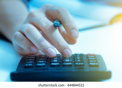 Recheck document or planing data for business market target and about accounting staff recheck data before approve document with film effect, copy space.