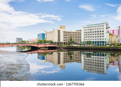 Recife, Brazil - Circa April 2019: A view of the historic neighborhood Santo Antonio reflecting on the waters of the Capibaribe river