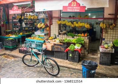 Recife, Brazil - Circa April 2019: Shops inside Mercado da Boa Vista - 19th century market in the historic center of Recife