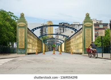 Recife, Brazil - Circa April 2019: A view of Ponte da Boa Vista, bridge originally built in 1640 in wood, but redone in iron in the XIX century